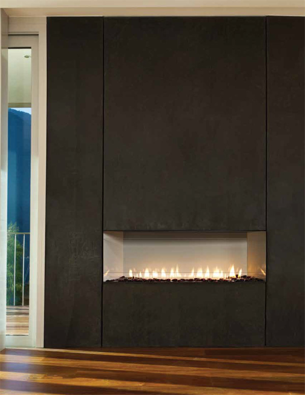 "Contemporary Fireplace boulevard 38"" vent free linear contemporary fireplace"