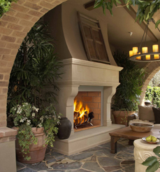 FMI Portofino Masonry Outdoor Stainless Wood Fireplaces