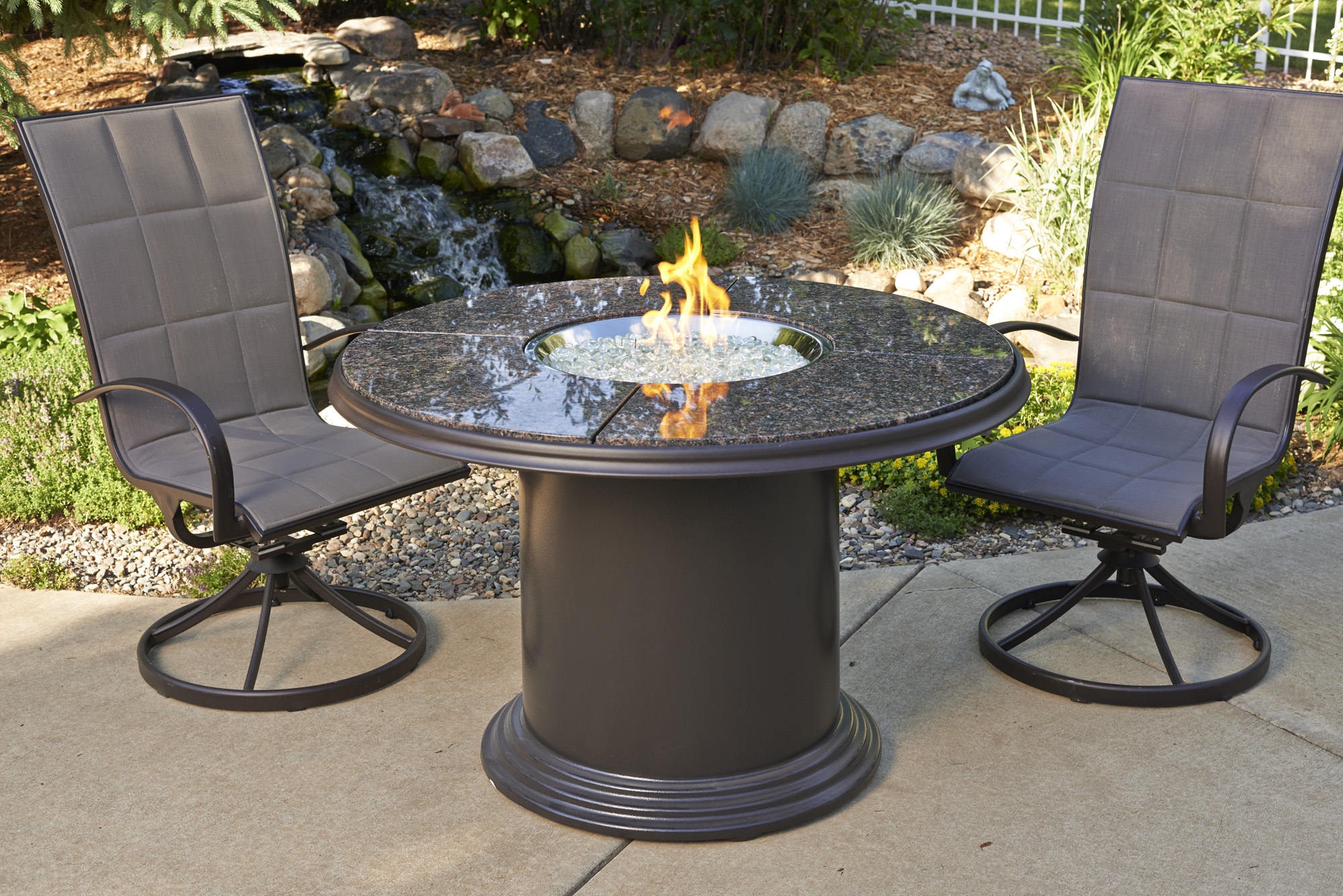 Dining Height Fire Pit Tables - Round fire pit table and chairs