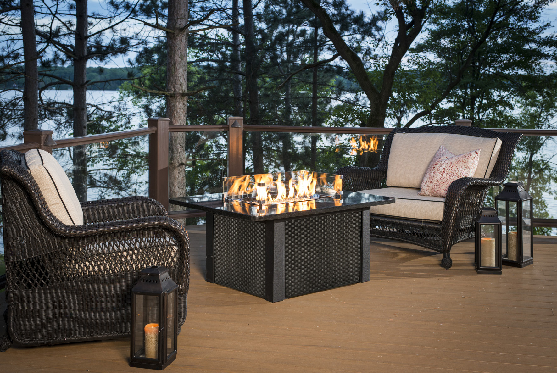 Outdoor Great Room Fire Pits - Resin wicker fire pit table