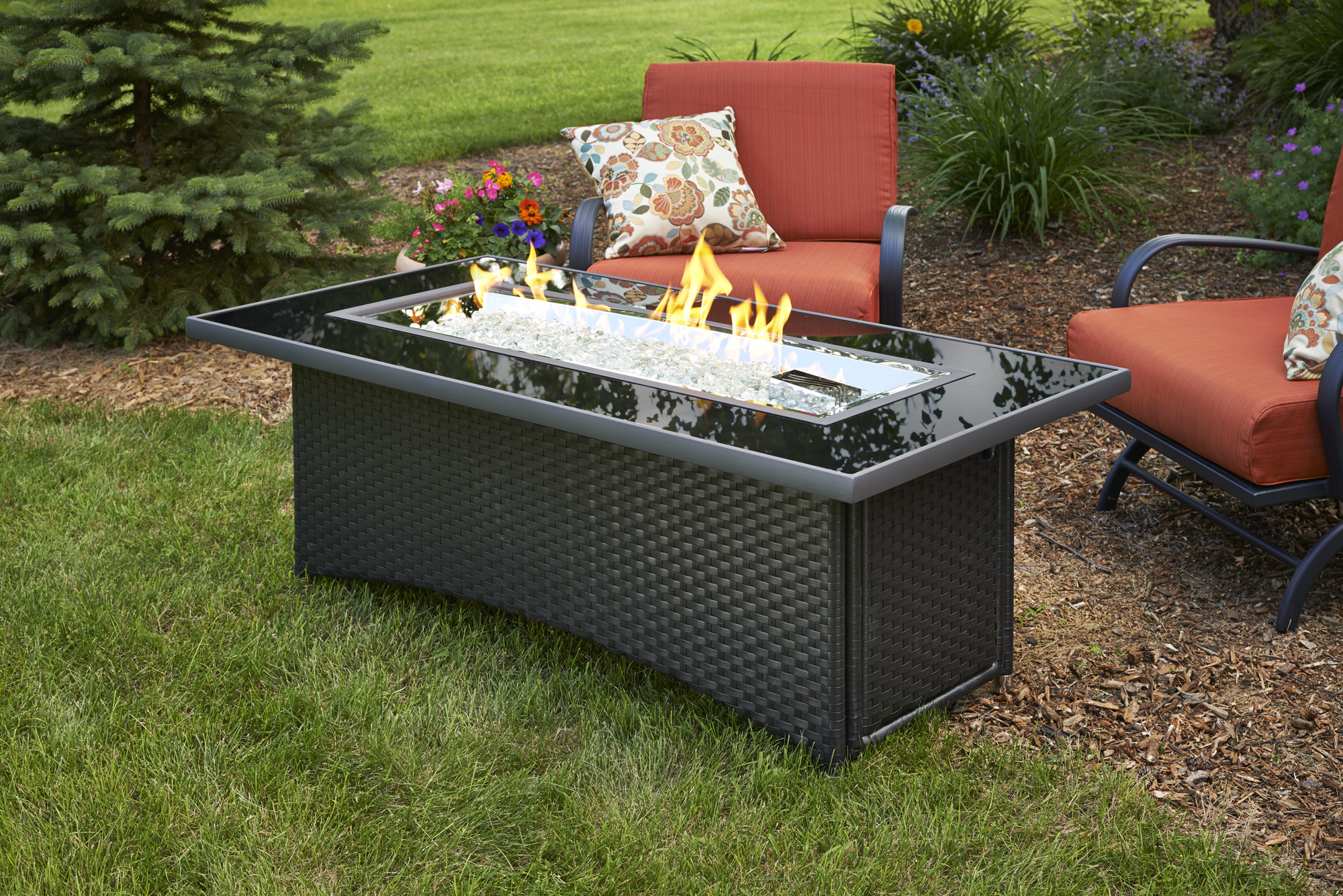Chat Height Fire Pit Tables with Rectangular Linear Burner