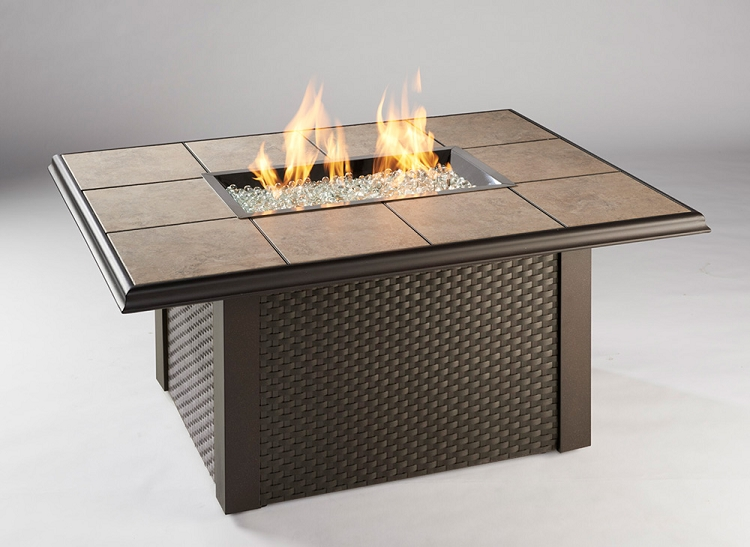 Chat Height Fire Pit Tables with Rectangular Burner