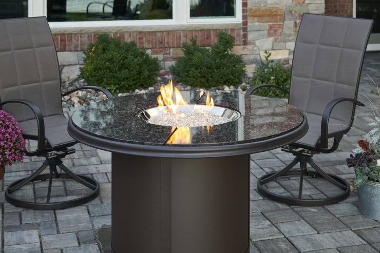 Fire Pit Tables With Round Crystal Fire Burner