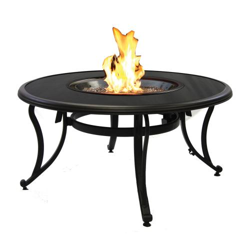 Chat Height Fire Pit Tables with Round Crystal Fire Burner